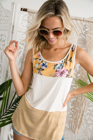 Stacey - Floral Color Block  Sleeveless Tank