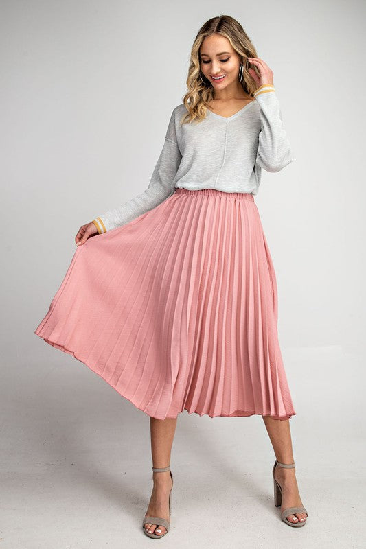 Belinda - Mauve Pleated Skirt