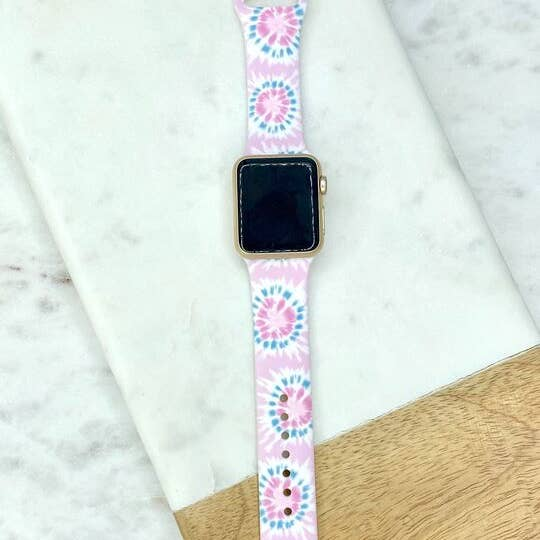 Light Pink Tie Dye Printed Silicone Watch Band