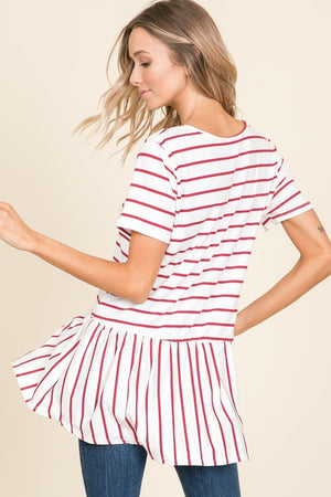 Delia - Stripe Button Down Top