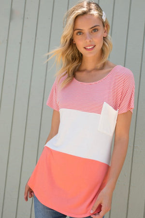 Donnetta - Coral Color Block Top