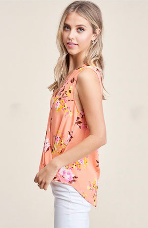 Teresa - Papaya Floral Top