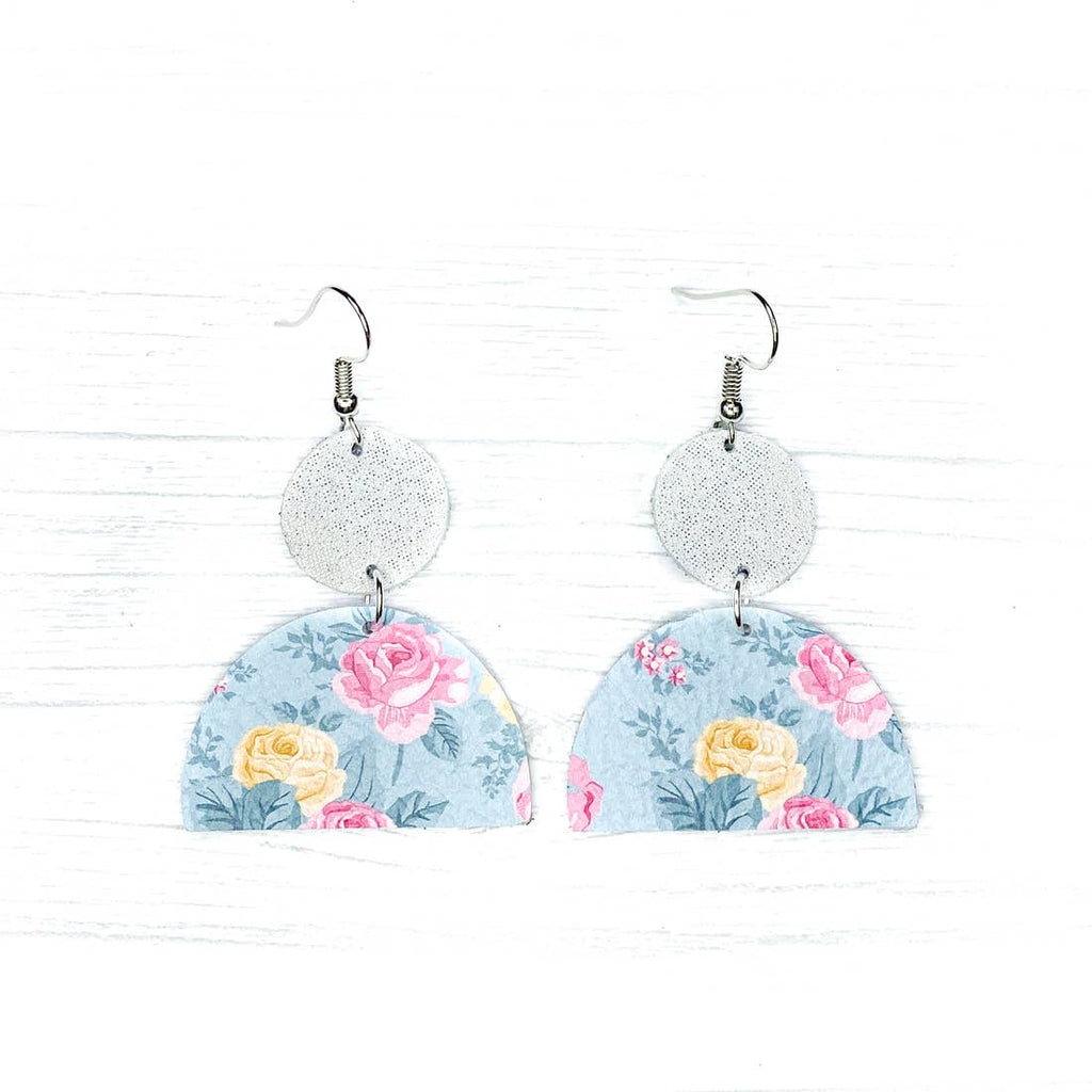 Savvy Bling Leather Earrings- Mint Floral Geometrics