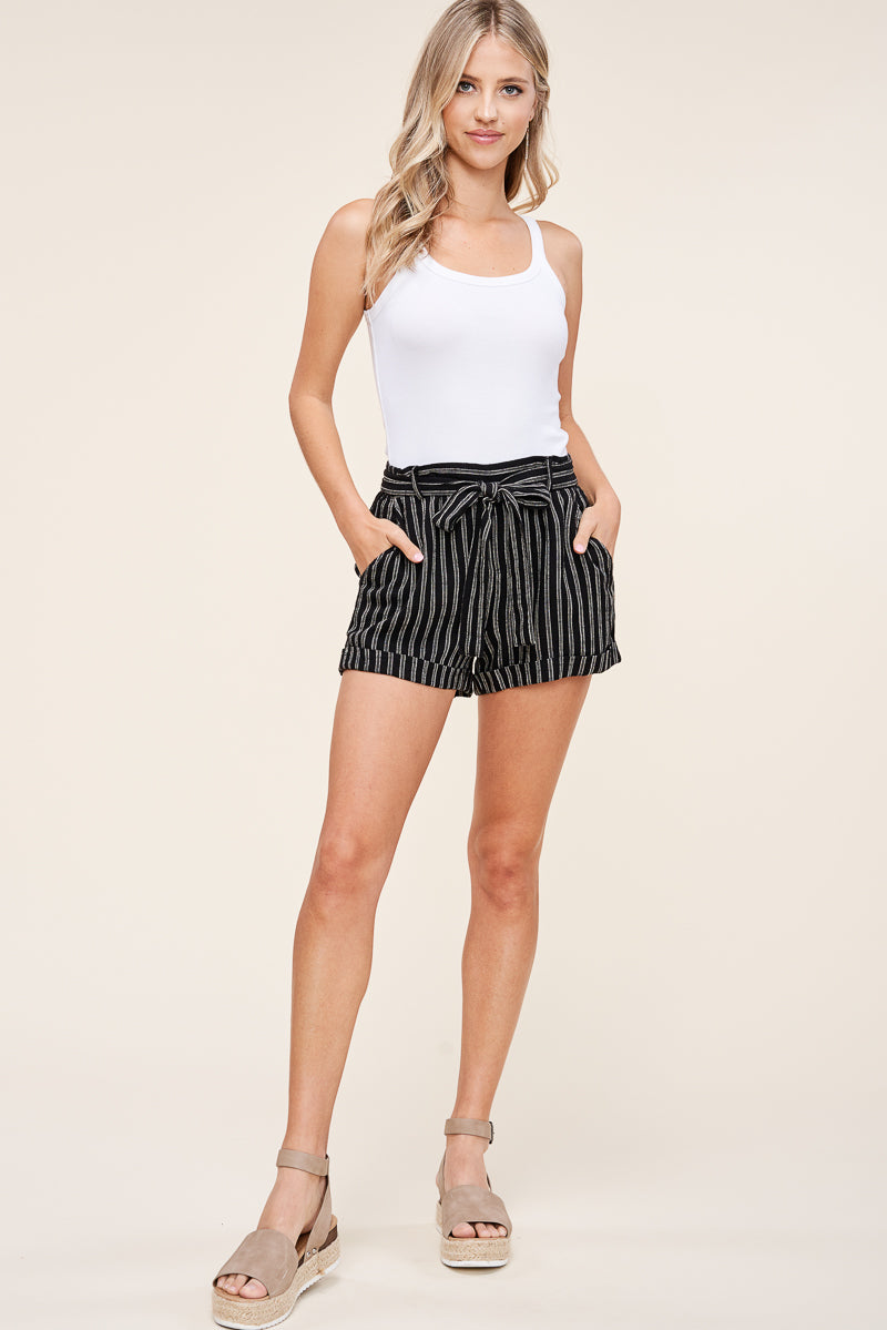 Black and Ivory Stripe Shorts