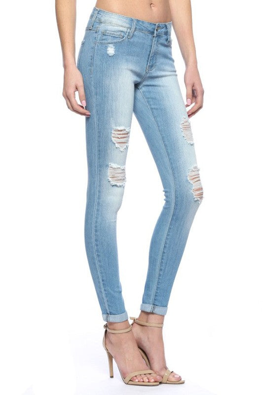 Distressed Light Wash Skinny Jeans