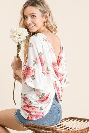 Sonya - Floral Twisted Back Top