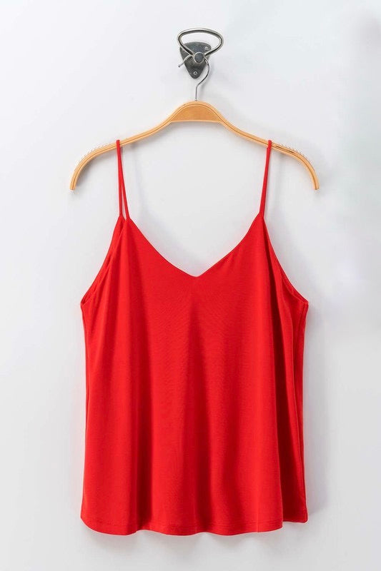 Red V-Neck Cami Tank