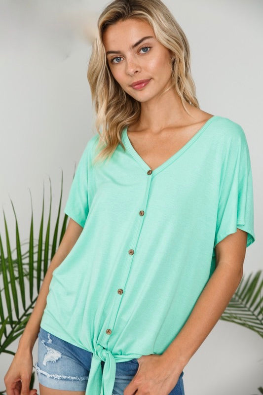 Jeri - Mint Tie Bottom Top