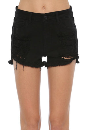Cello High Rise Black Fray Short