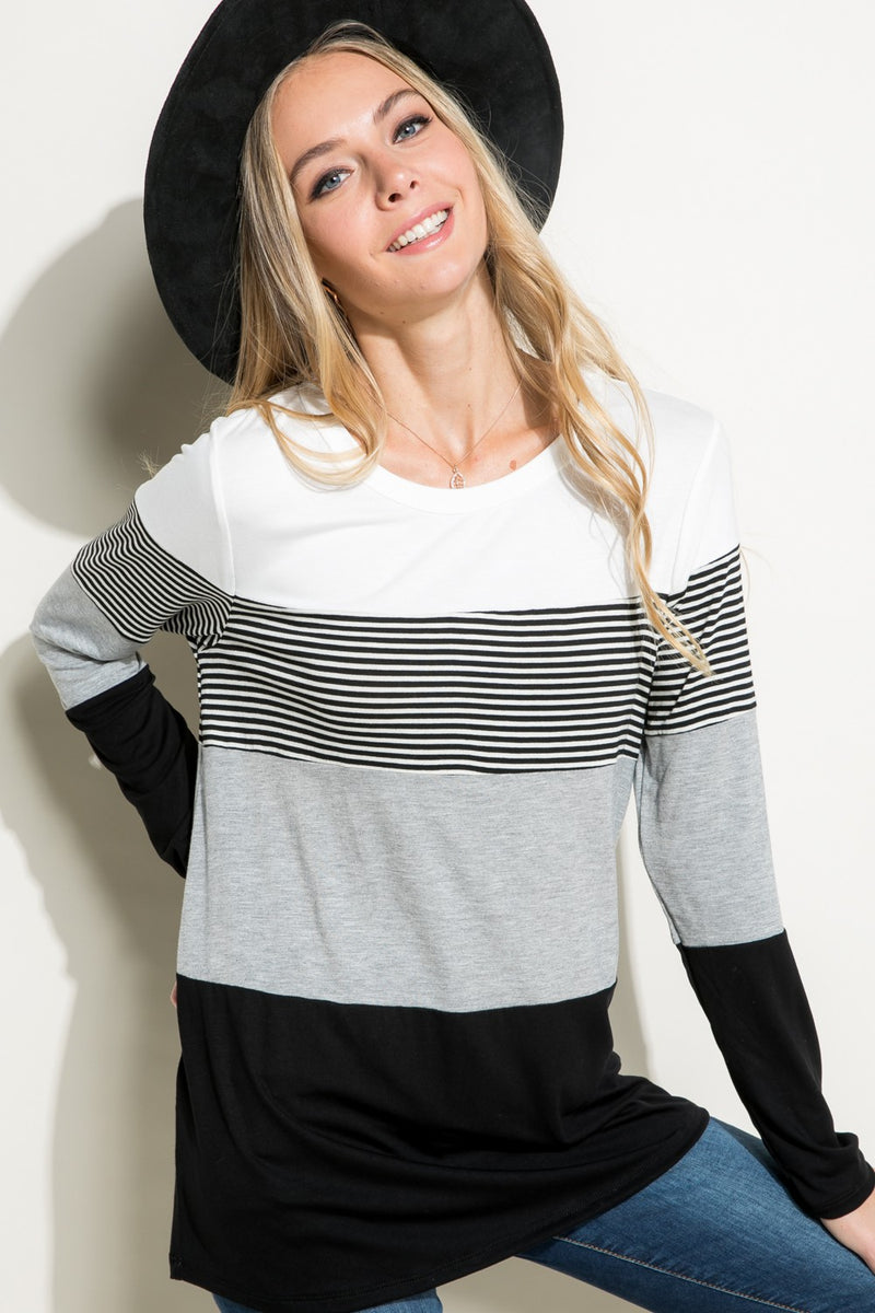 Black/Grey/White Stripe Colorblock Top