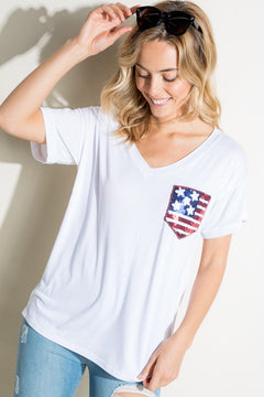 American Flag Sequin Pocket Tee