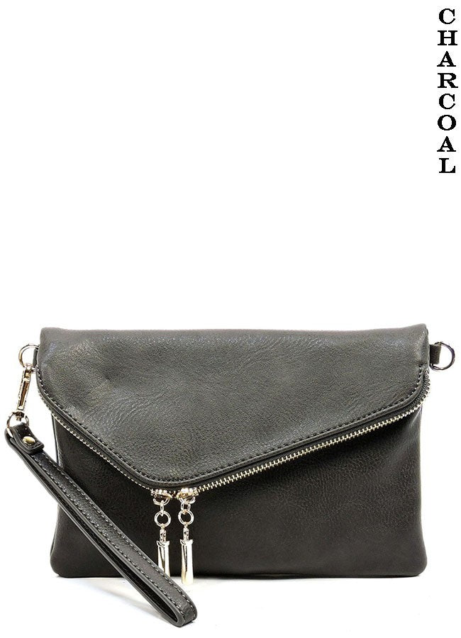 Charcoal Envelope Clutch Crossbody