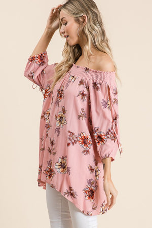 Glenda - Floral Off Shoulder Tunic Top