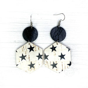 Savvy Bling Leather Earrings- Stars on White Cork Hexagons
