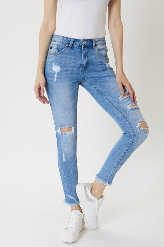 KanCan Mid Rise Distressed Ankle Skinny Jeans