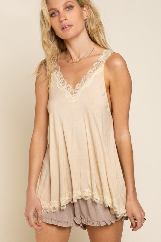 Lace Trim Tank- Honey Gold