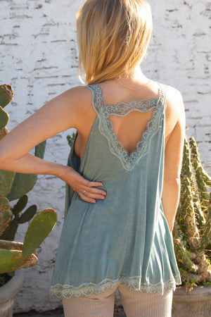 Lace Trim Tank- Blue Sage