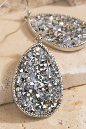 Druzy Tear Drop Earrings-Silver