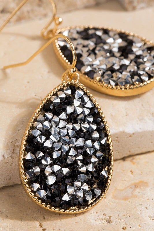 Druzy Tear Drop Earrings-Hematite