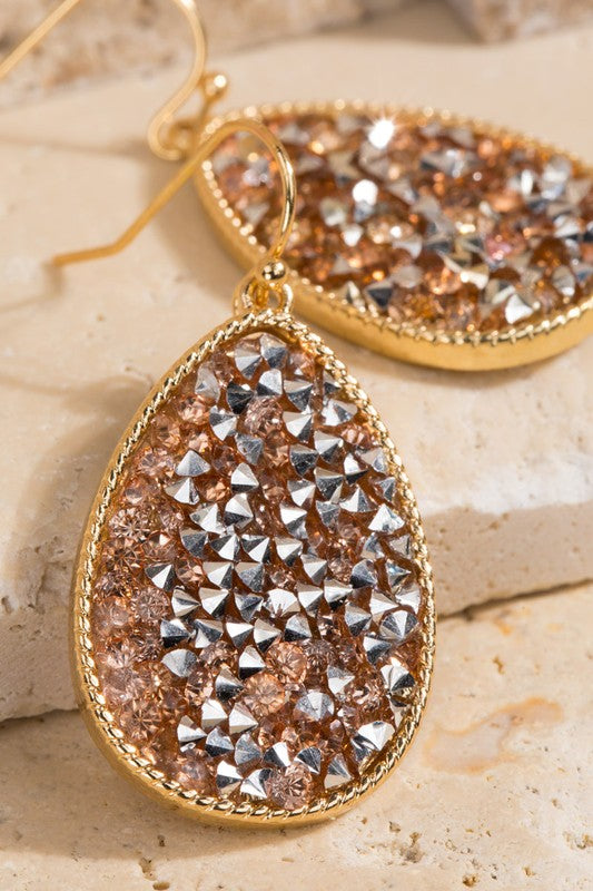 Druzy Tear Drop Earrings-Gold
