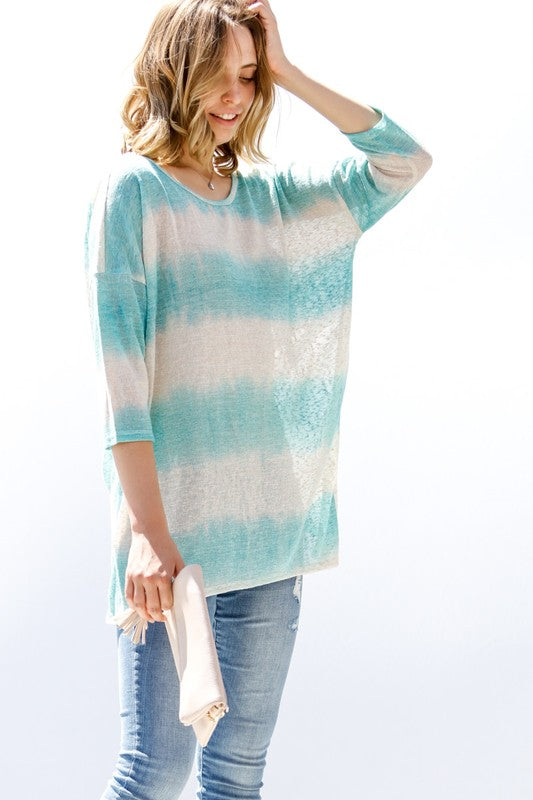 Chasing Summer Top- Aqua Stripe Knotted Back