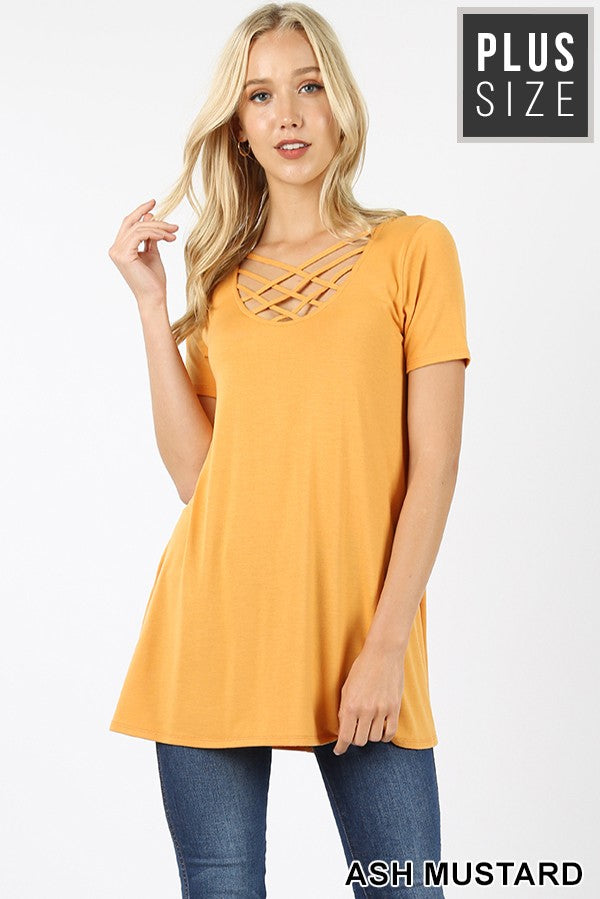 Basic Criss Cross Short Sleeve Top