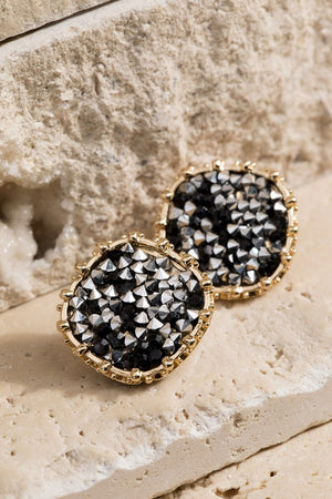 Druzy Rounded Square Earrings-Black