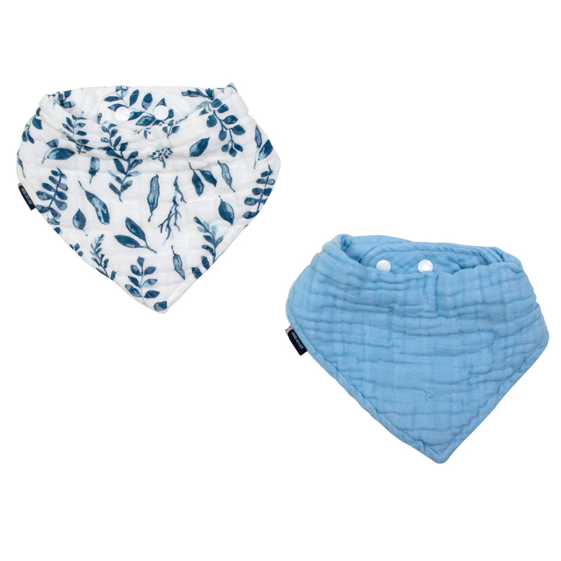 Blue Leaves & Cornflower Classic Muslin Bandana Bib Set
