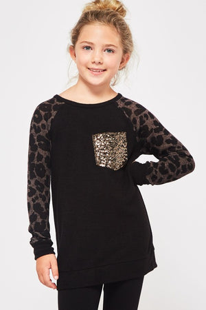 Girls Black Leopard