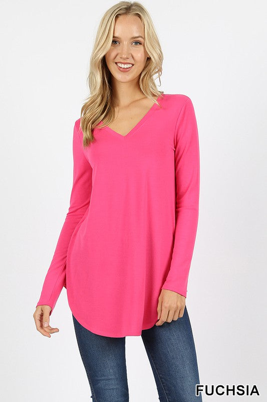 Basic Long Sleeve V-Neck Tops
