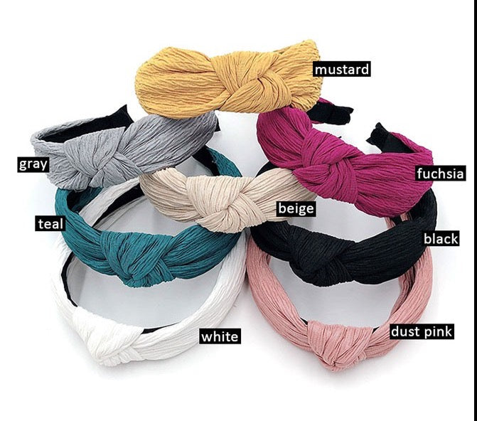 Crinkled Knotted Headband-Multiple Colors