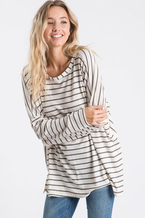 Oatmeal & Olive Thermal Striped Boxy Top