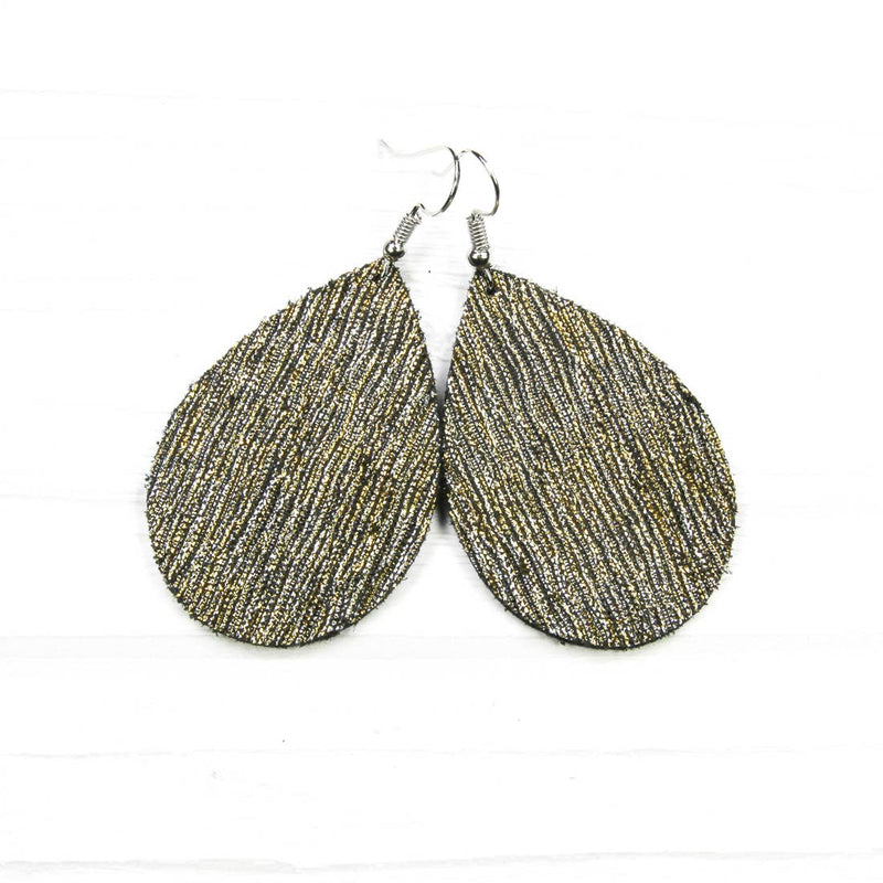 Savvy Bling Leather Earrings- Silver & Gold Rain Shimmer