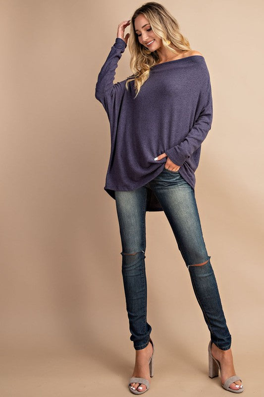 Navy Off Shoulder Tunic Top