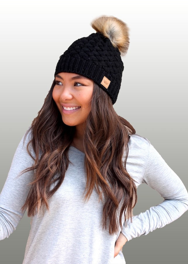 Black Basket Weave Fleece Lined Pom Pom Beanie