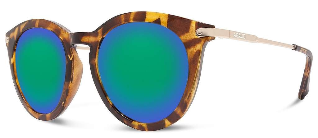 Bella Sunglasses Gloss Tortoise/Gold Frame Polarized Ocean Mirror Lenses