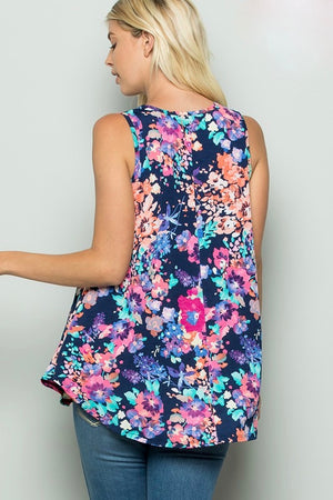 Maryanne-Floral Round Neck Sleeveless Top