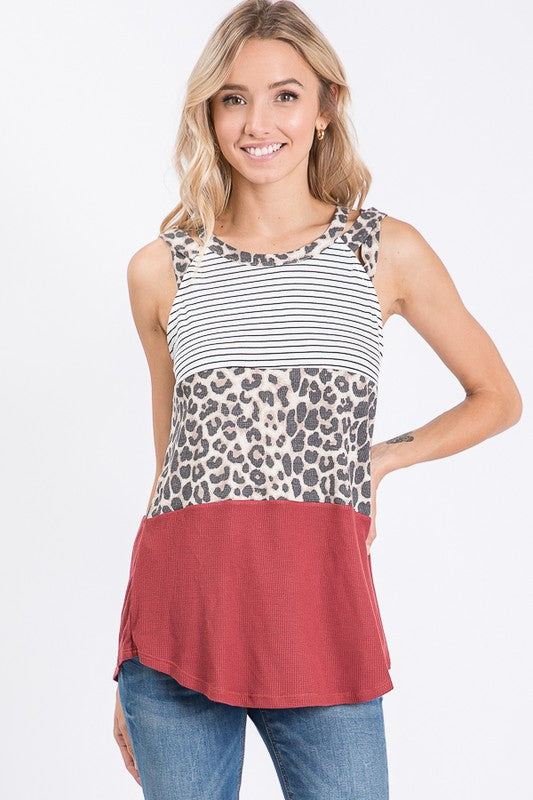 Barbara - Leopard Color Block Tank