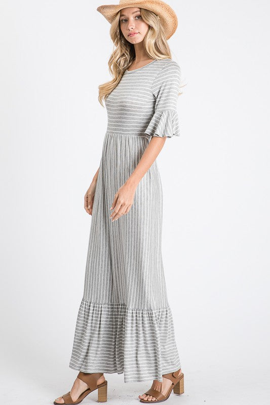 Kelli - Striped Ruffle Dress