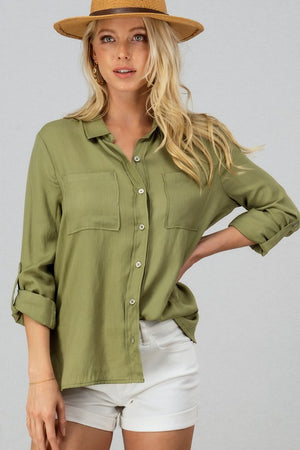 Betty - Linen Button Down Blouse