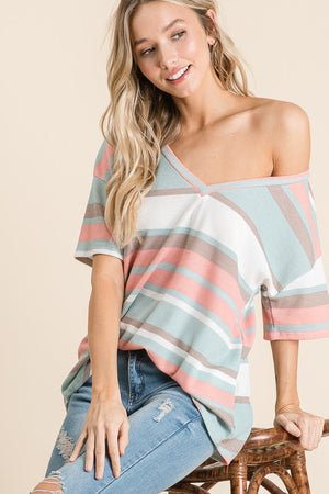 Tricia - V-neck Striped Top