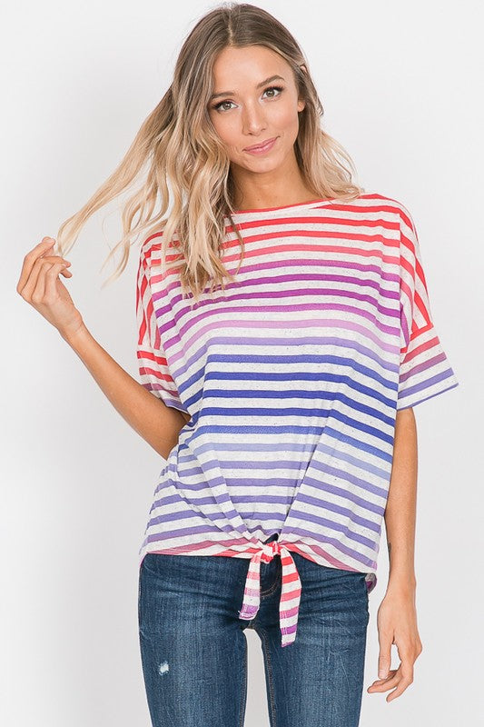 Nichole - Multi Stripe Front Tie Top