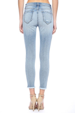 Cello Mid-Rise Fray Crop Skinny Jeans