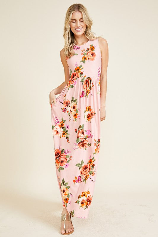 Cristy - Floral Sleeveless Maxi Dress