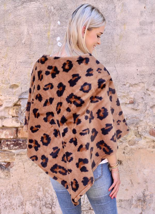 Lively Leopard Print Faux Fur Poncho Brown