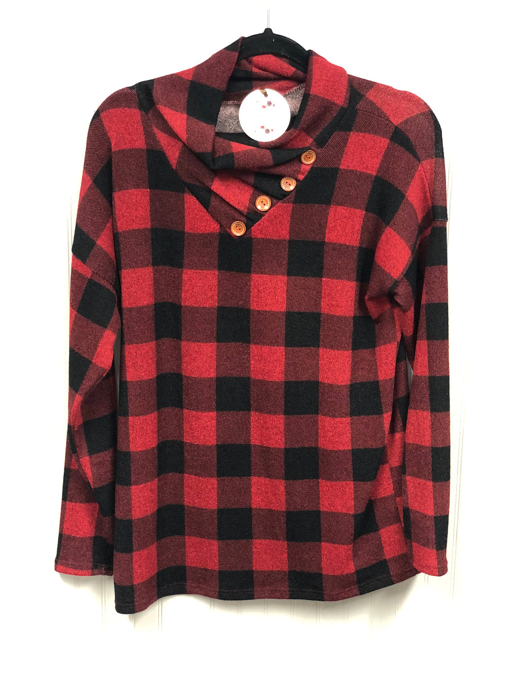 Buffalo Plaid Button Detail Top