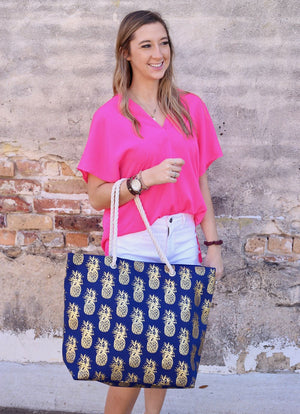 Foil Pineapple Tote Bag With Rope Handles Navy