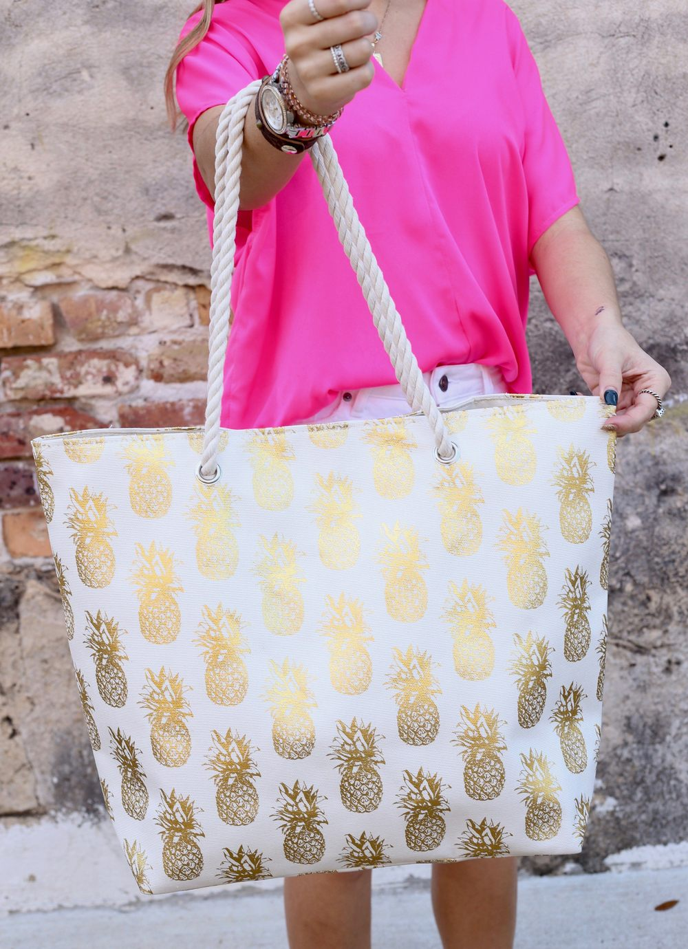 Foil Pineapple Tote Bag With Rope Handles White