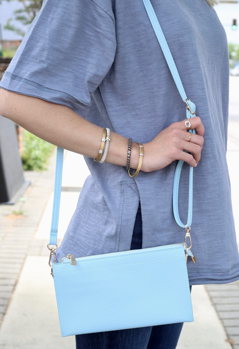 Polly Pebbled Clutch/Crossbody Light Blue