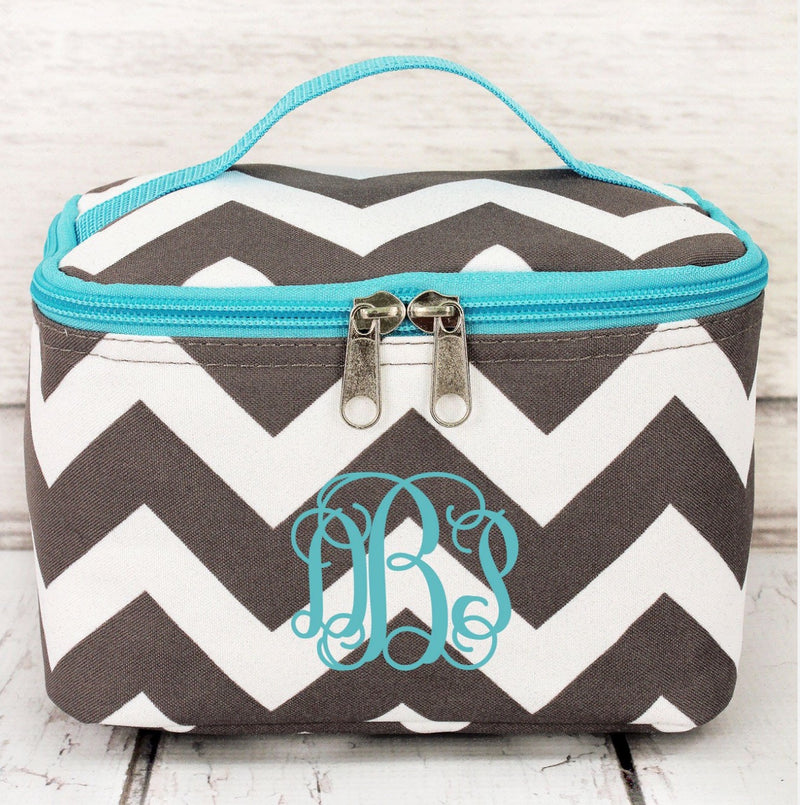 Grey Chevron Case with Aqua Trim